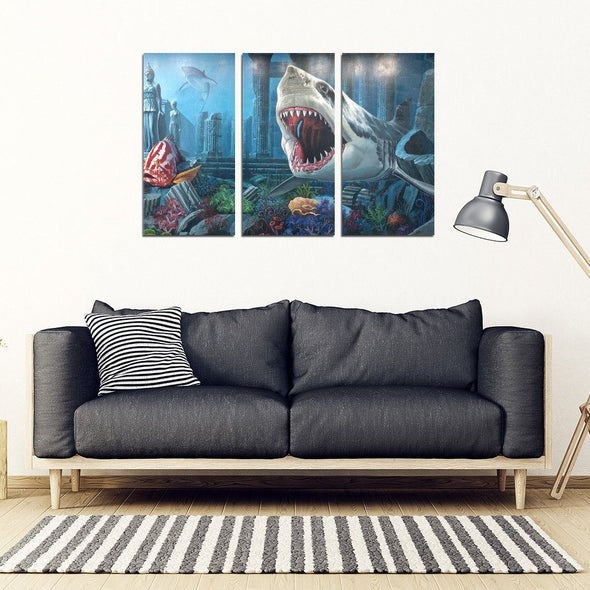 FramedCanvas - Shark - 3 Piece Framed Canvas