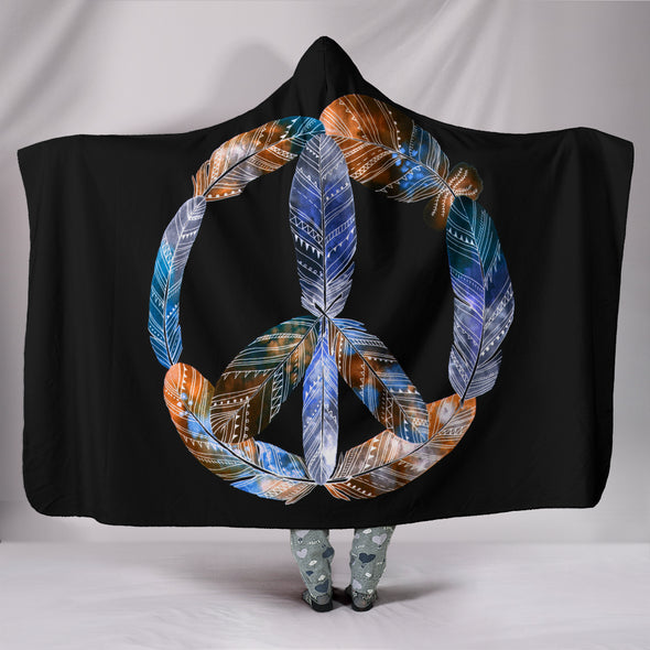 Peace Hippie Feathers Hooded Blanket