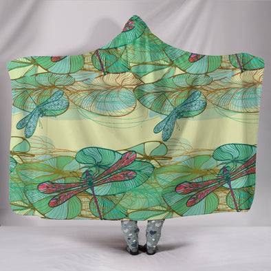 Swamp Lotus Dragonfly Hooded Blanket