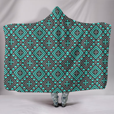 Boho Seamless Blue Pattern Hooded Blanket