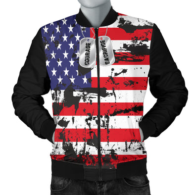American Flags and Tags Men's Grunge Bomber Jacket