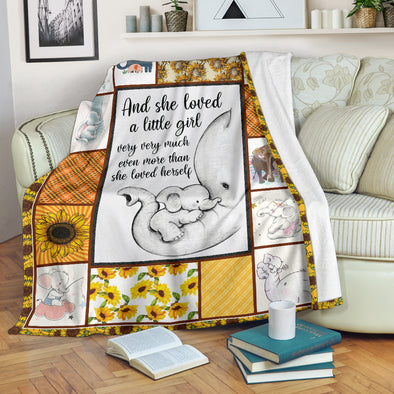 And she loved a little girl Sunflower Elephant Premium Blanket