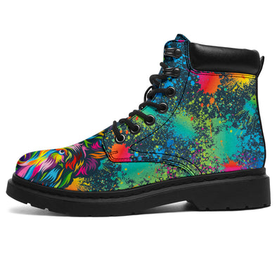 Colorful Neon Abstract Wolf All-Season Boots