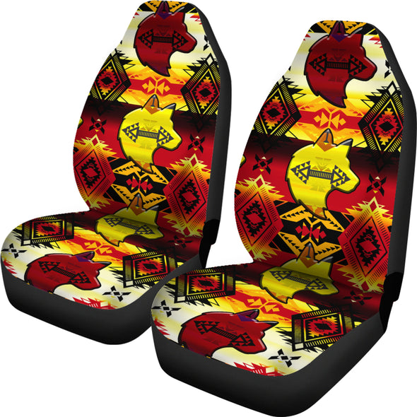 Sovereign Nation Fire with Wolf Car Seat Covers (Set of 2)