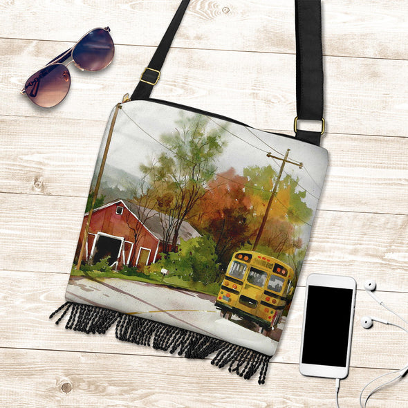 Crossbody Boho Handbag - School Bus