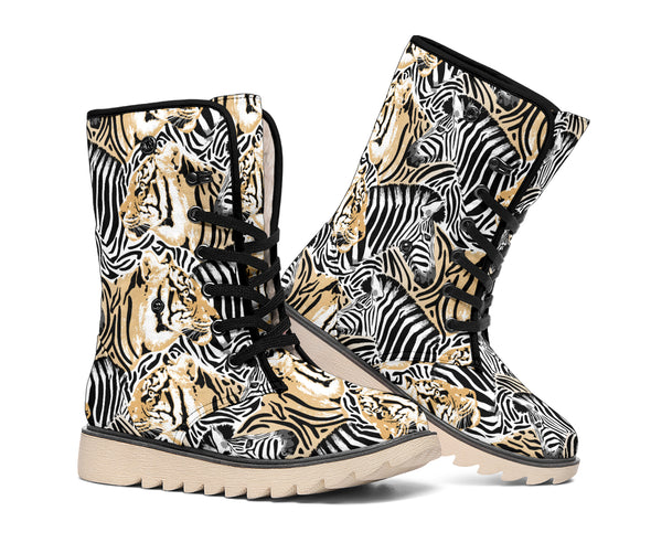Zebra and Tiger Polar Boots