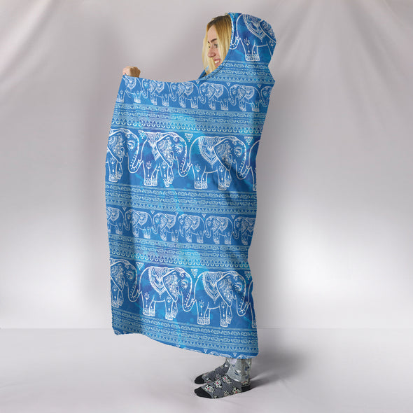 Blue Elephants Hooded Blanket
