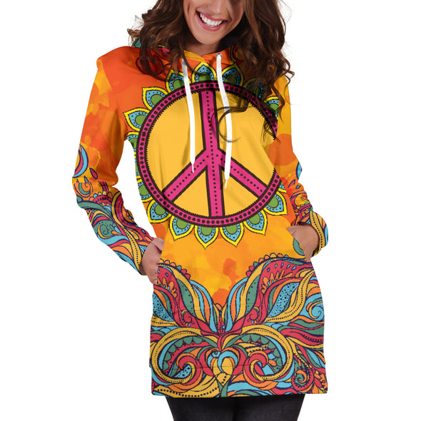Hippie Peace Hoodie Dress