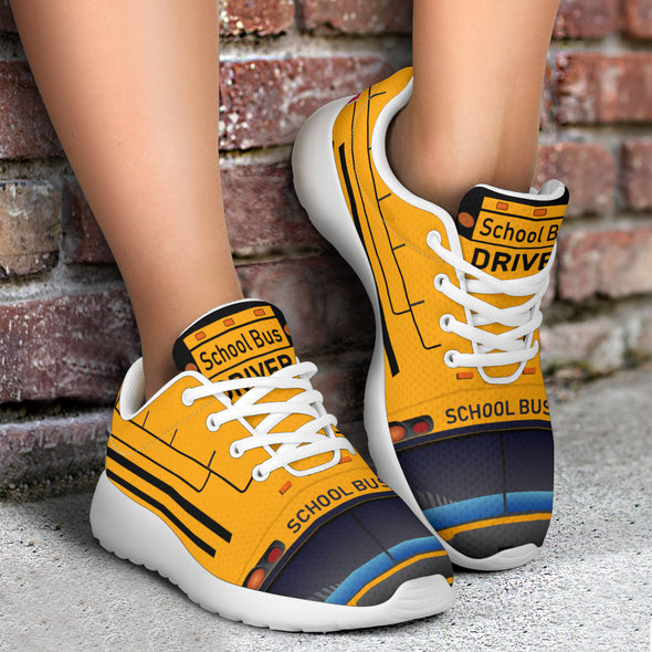 School Bus Driver Sport Sneakers White Color