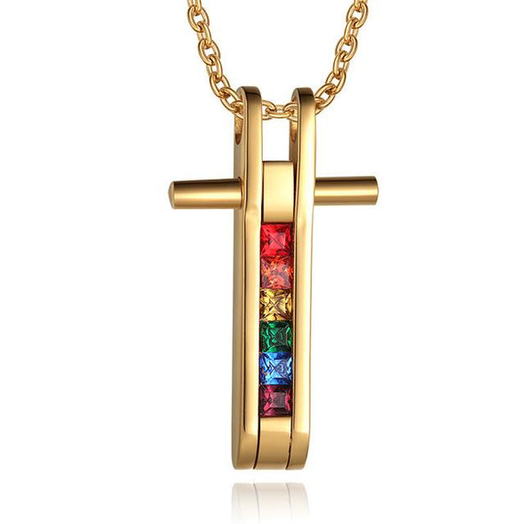 LGBT 316L Stainless Steel Rainbow Pendants Cross Design Lesbian Necklaces Gay Pride LGBT Accessories Jewelry TNPPN012