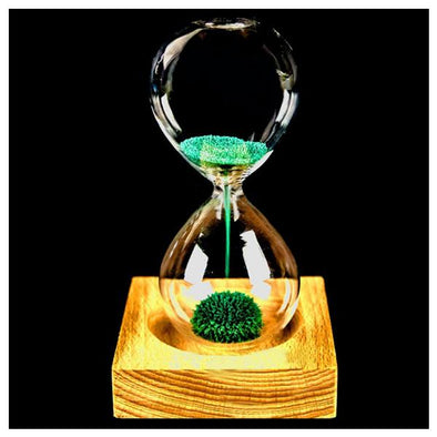 MEOF Wood + Glass + Iron Powder Sand Iron Flowering Magnetic Hourglass 13.5 * 5.5cm Wooden Seat With Packaging Gift