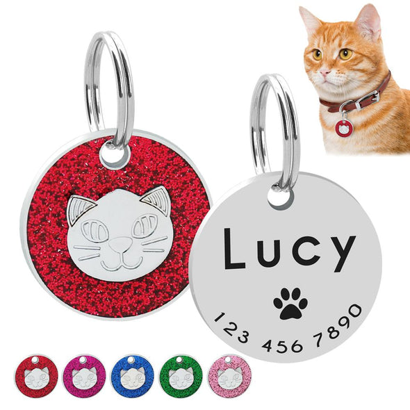 Personalized Cat ID Tag Engraved Cats Name Tags Paw Print Customized Name Plate Dog Cats Kitten Accessories Pink Red Blue