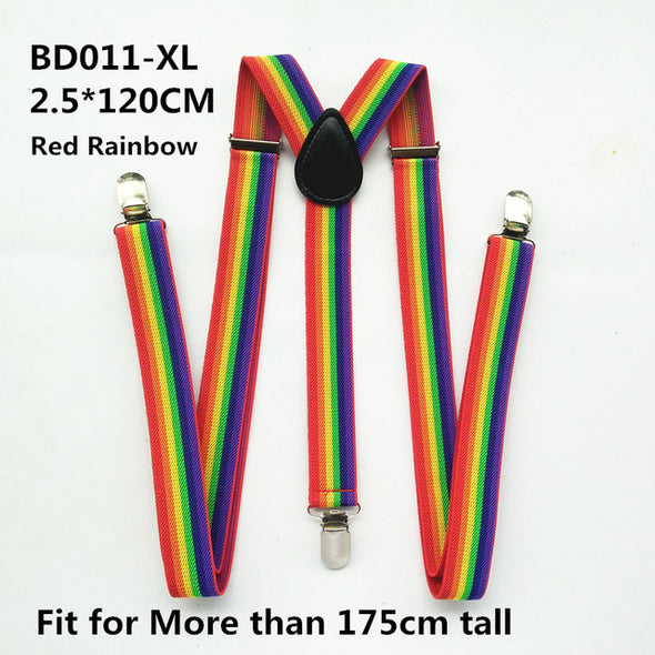 Suspenders Red White Rainbow Colorful Y-back Braces