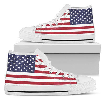 Shoes - American Flag - Men's High Top - White
