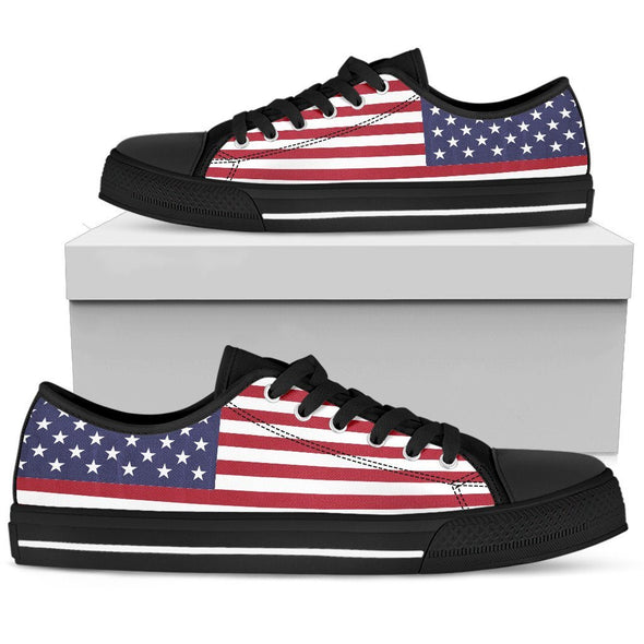 Shoes - American Flag - Men's Low Top - White