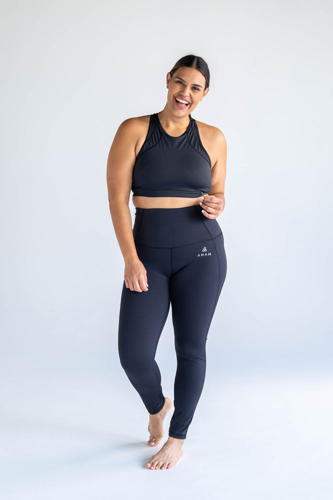 Black Full Length Tights + Sports Bra Two-Piece Set