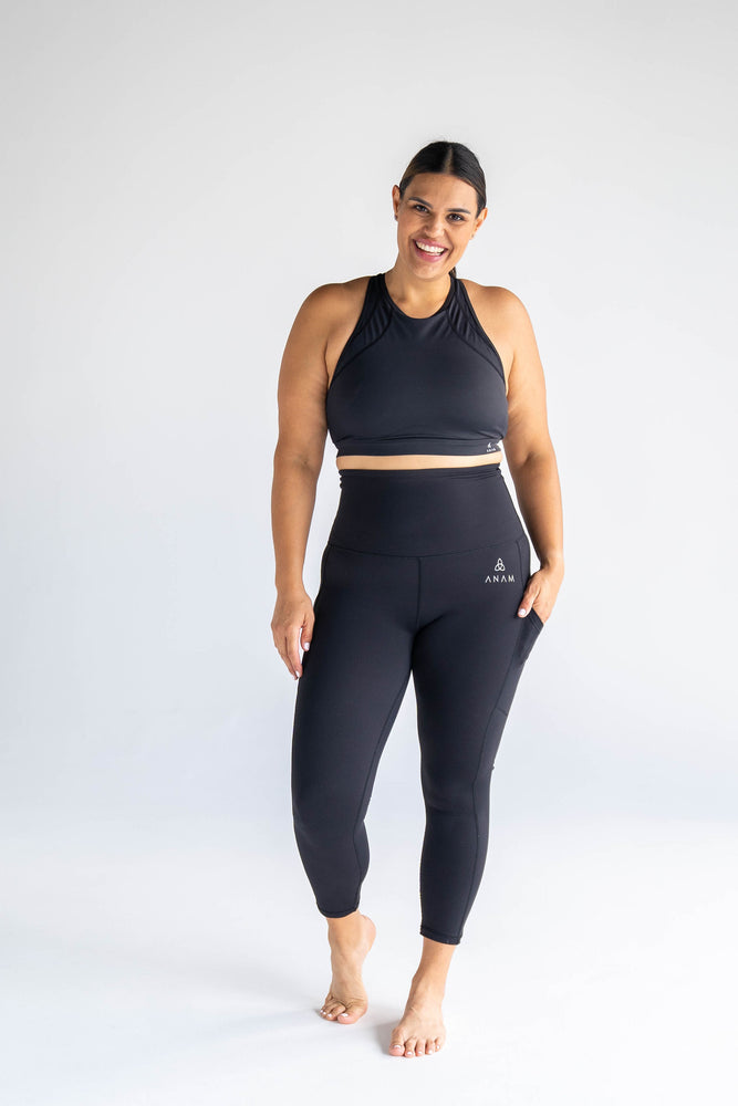 Black 7/8 Tights + Sports Bra Two-Piece Set