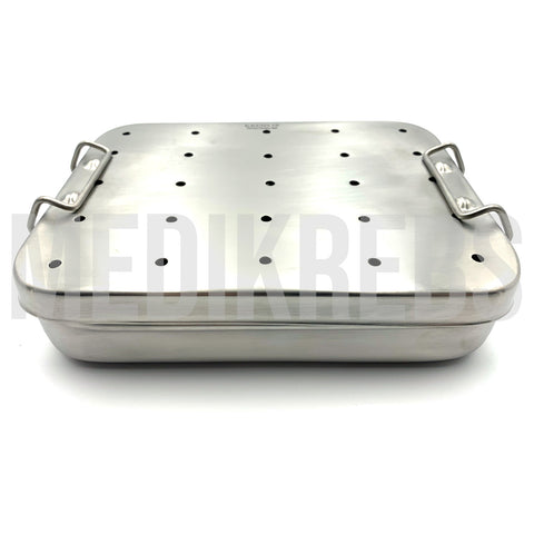 Stainless Steel Sterilization Tray w/ Perforated Lid 8'' x 6'' x 2''