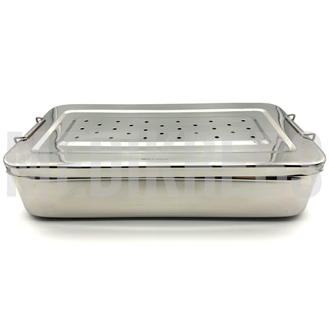 Stainless Steel Sterilization Tray w/ Perforated Lid 14'' x 7'' x 3''
