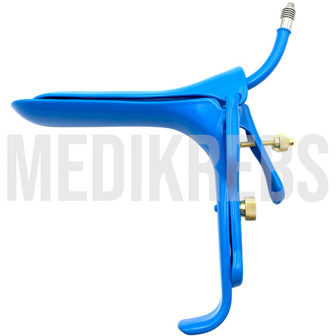 Grave Vaginal Speculum - Blue Teflon Cover w/ Suction Tube LARGE