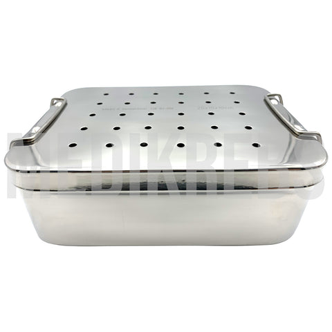 Stainless Steel Sterilization Tray w/ Perforated Lid 10'' x 6'' x 2.4'' (25 x 15 x 6 cm)