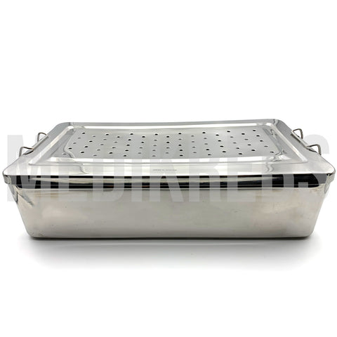 Stainless Steel Sterilization Tray w/ Perforated Lid 15 1/2'' x 8'' x 4''