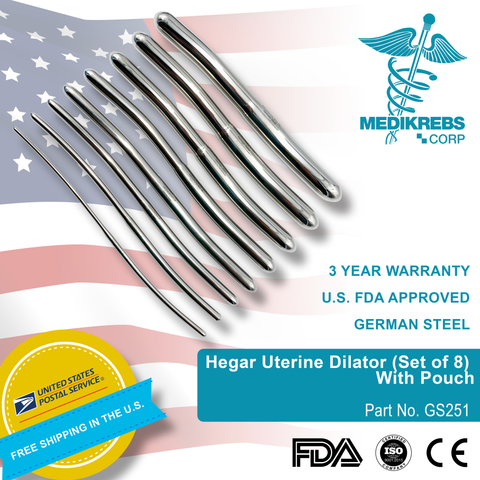 Hegar Uterine Dilator (Set of 8) With Pouch OBGYN Diagnostic Surgical Instrument