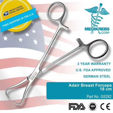 Adair Breast Forceps 18 cm Surgical Instruments