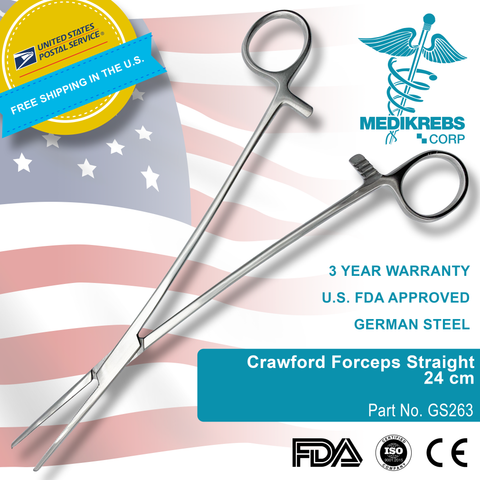 Crawford Forceps Straight 24 cm Surgical Instruments