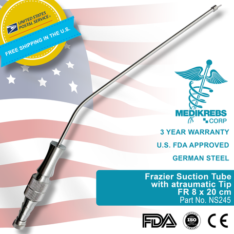 Frazier Suction Tube with atraumatic Tip FR 8 x 20 cm Surgical Instruments
