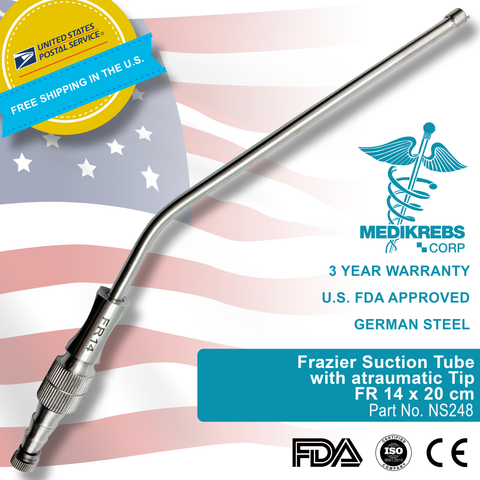 Frazier Suction Tube with atraumatic Tip FR 14 x 20 cm Surgical Instruments
