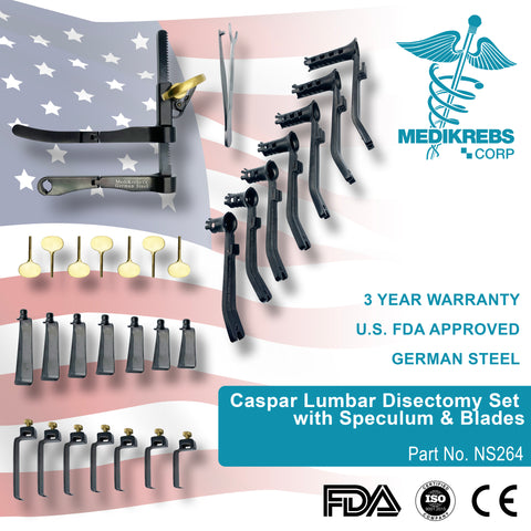 Caspar Lumbar Disectomy Set with Speculum and Blades Surgical Instruments