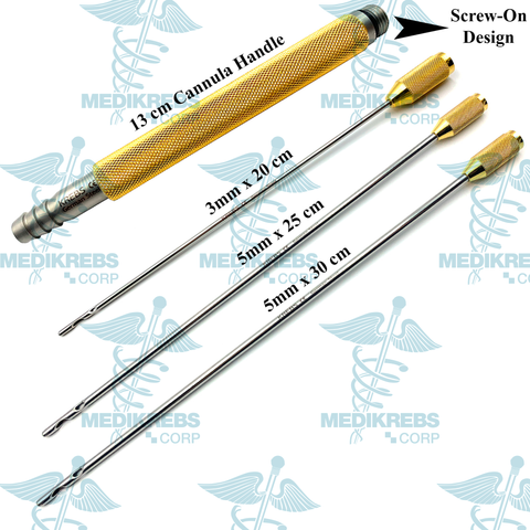Liposuction Cannulas & Handle Set 3 mm x 20 cm, 5 mm x 25 cm, 5 mm x 30 cm
