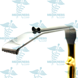 Tebbetts Breast Retractor 30 mm x 15 cm w/ Fiber Optic Light Guide and Suction Tube