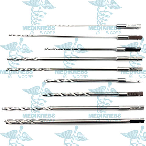 9 Pcs Ortho Drill Bit Set, AO 1mm,1.5mm,2mm,2.5mm,2.7mm,3mm,3.2mm,3.5mm, 4.5mm
