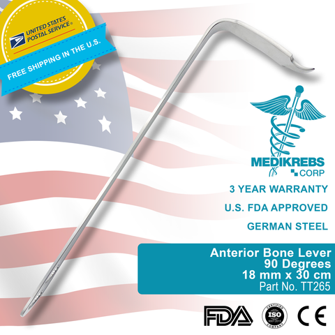 Anterior Bone Lever 90 Degrees 18 mm x 30 cm Orthopedic Surgical Instruments