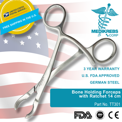 Bone Holding Forceps with Ratchet 14 cm Surgical Instruments
