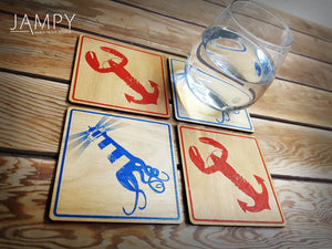 Lobster-Anchor & Lighthouse-Squid Coasters