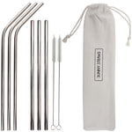 Silver Straight and Bent Straw Set (6) with Brushes (2)