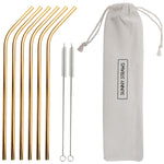 Gold Bent Straw Set (6) with Brushes (2)