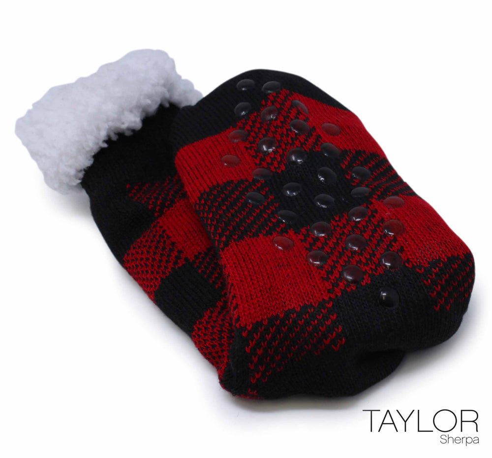 The Taylor Extra Plush Slipper Sock Buffalo Plaid