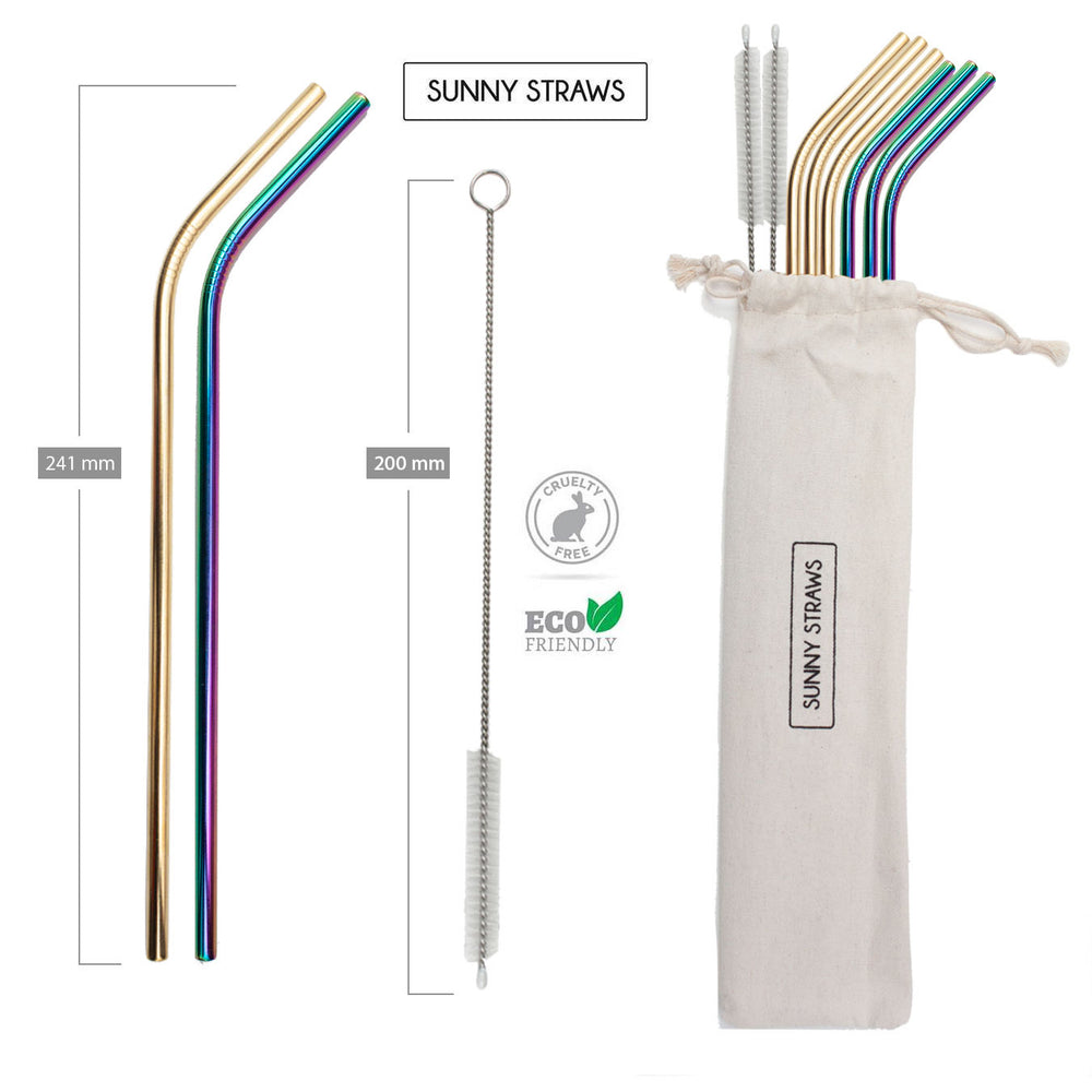 Rainbow and Gold Bent Straw Set (6) with Brushes (2)