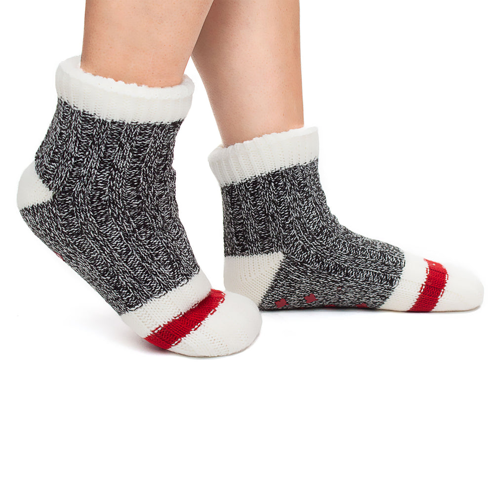 The Canadian Extra Plush Slipper Sock Cabin Grey-NEW!