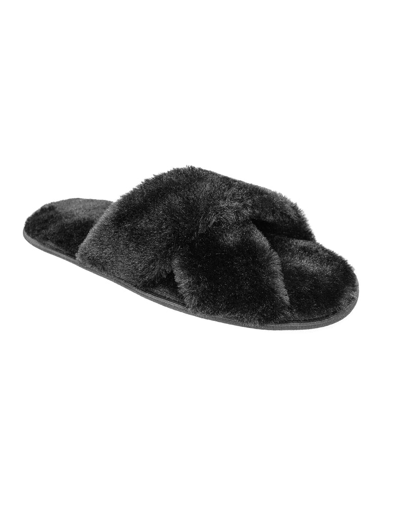 The Katia Faux Fur Slipper-Black
