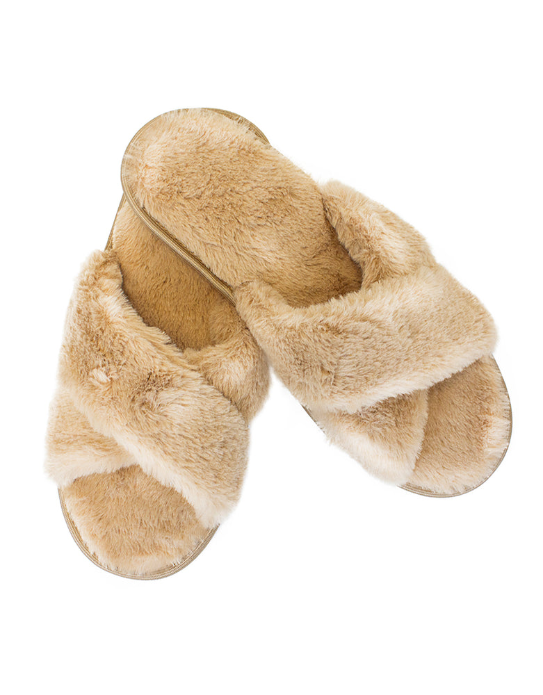 The Katia Faux Fur Slipper-Tan