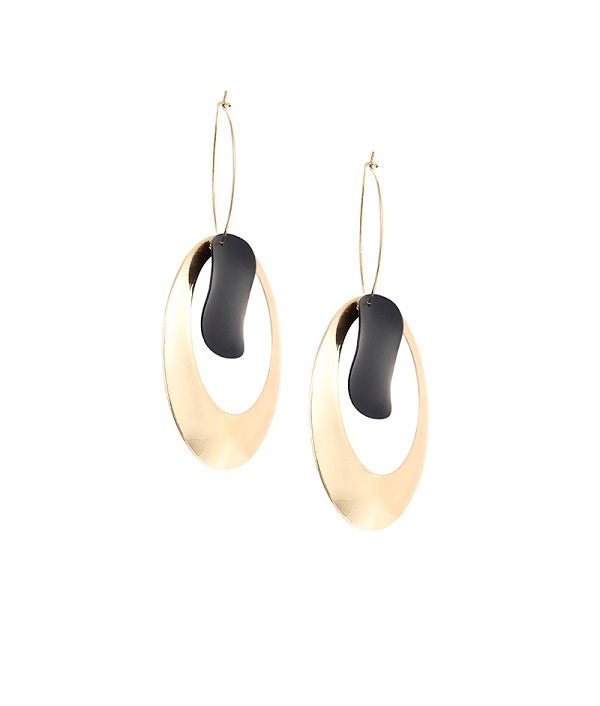 Black and Gold Loop Earrings