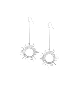 Silver Sun Dangler Earrings by FASHKA