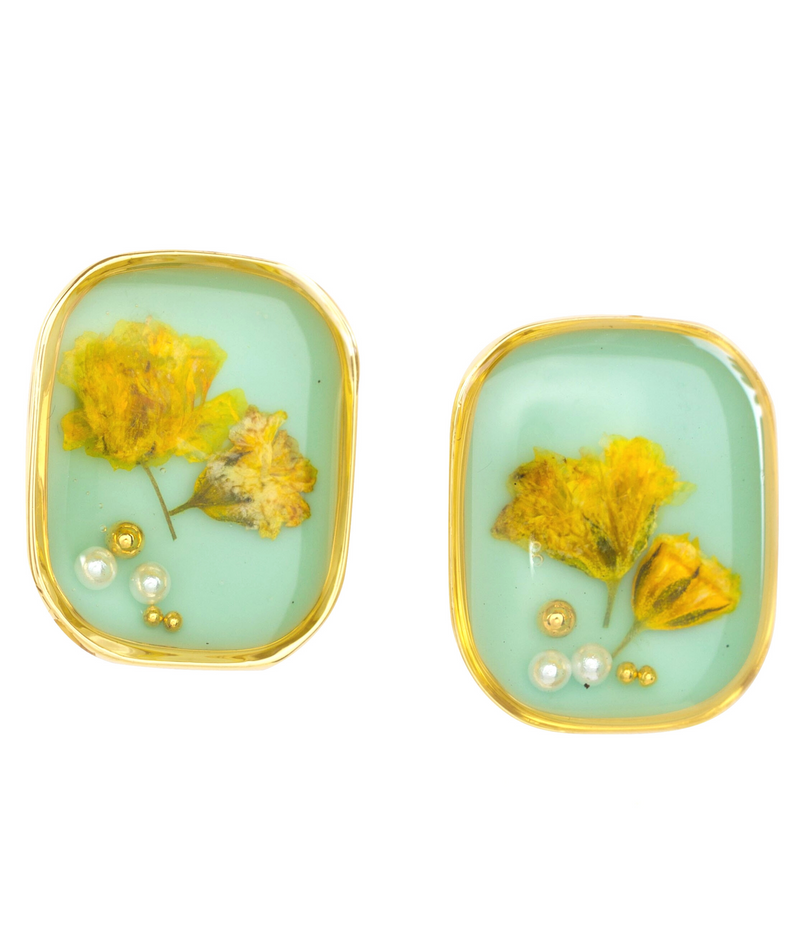 Floral Aqua Stud Earrings