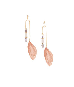 Feather Drops Dangler Earrings by FASHKA