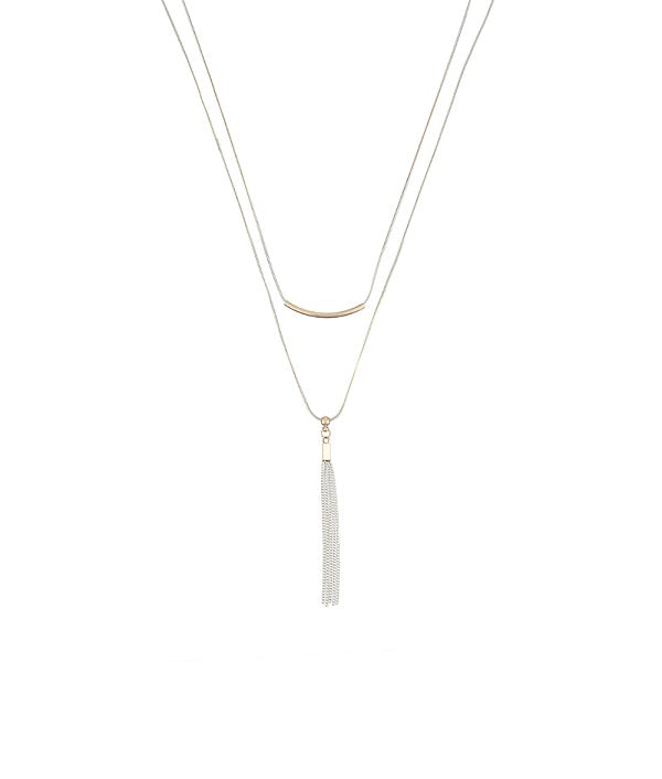 Tassel Tales Dual Chain White Necklace by FASHKA